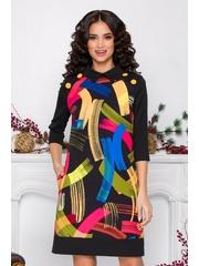 Rochie MBG neagra cu imprimeu multicolor si nasturi decorativi la umeri
