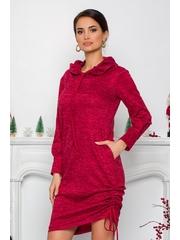 Rochie Moze bordo din tricot cu gluga si buzunare