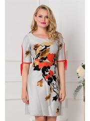 Rochie Moze gri cu imprimeuri florale orange