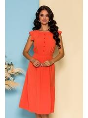 Rochie Moze orange cu nasturi si cordon in talie