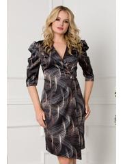 Rochie neagra satinata cu imprimeuri circulare