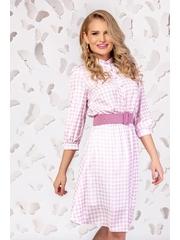Rochie Pretty Girl midi cu imprimeu pepit roz si curea in talie
