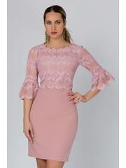 Rochie Rita roz cu dantela la bust