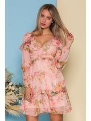 Rochie Rizzie roz somon cu imprimeuri florale si decupaje in talie