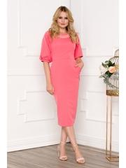 Rochie roz cu buzunare si perlute la baza gatului