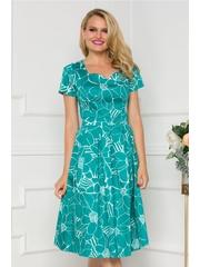Rochie verde cu talie marcata si imprimeu floral