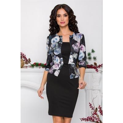 Rochie Sheyla neagra cu imprimeu floral gri-lila si peplum in talie