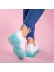 Pantofi dama sport albi cu turcoaz Prabina -rl