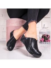 Papuci cu platforma dama negri Fonesia