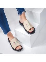 Papuci cu talpa joasa dama bej cu flori Roscovia