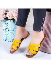 Papuci cu talpa joasa dama galbeni Sonylia