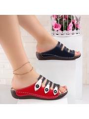 Papuci dama albastri cu rosu Stulia