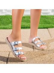 Papuci dama argintii Bislia