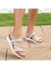 Papuci dama argintii Qalia