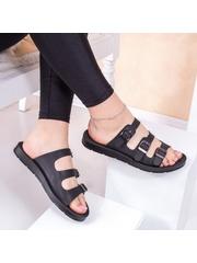 Papuci dama cu catarame negri Bislia