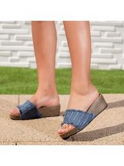 Papuci dama cu platforma albastri Sindelia