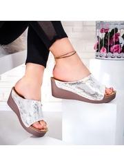 Papuci dama cu platforma argintii Sylenia