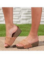Papuci dama cu platforma camel Sindelia