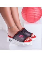 Papuci dama cu platforma negri cu rosu Nendisa