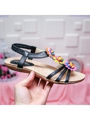 Sandale Akesson negre cu talpa joasa-rl