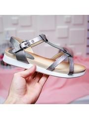 Sandale Clamita gri metalizat cu talpa joasa-rl