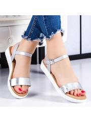 Sandale Crinali argintii cu talpa joasa -rl