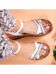 Sandale cu talpa groasa dama albe cu argintiu Abali -rl
