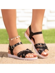 Sandale cu talpa groasa dama negre Bindisa