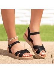 Sandale cu talpa groasa dama negre Hirolisa