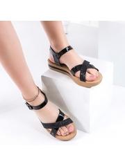Sandale cu talpa groasa negre Jilima