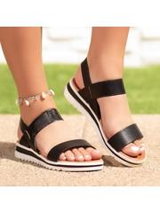 Sandale cu talpa groasa negre Justisa