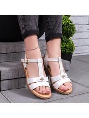 Sandale cu talpa joasa dama albe Binizia