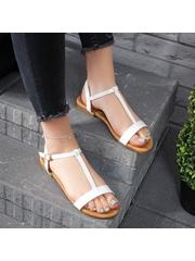 Sandale cu talpa joasa dama albe Duprisa