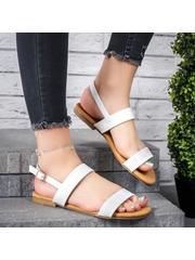 Sandale cu talpa joasa dama albe Elevisa