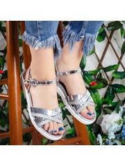 Sandale cu talpa joasa dama argintie Piky -rl