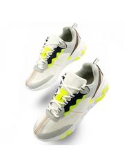 Pantofi barbatesti sport albi cu gri si verde Stanis