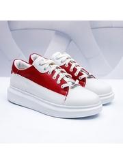 Pantofi sport barbati albi cu rosu Monly-rl