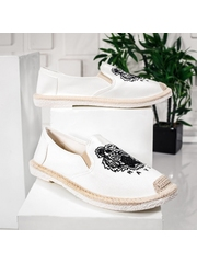 Espadrile barbatesti albi cu print Gliso