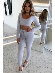 Compleu pufos format din top si pantaloni Fuzzy Lounge Gray