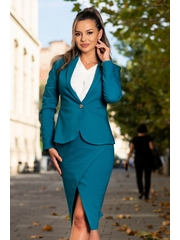 Sacou office turquoise inchis cambrat din bumbac