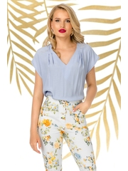 Bluza Pretty Girl casual bleu cu decolteu anchior