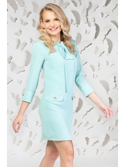 Rochie Pretty Girl office turquoise cu esarfa