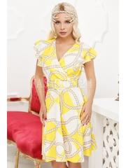 Rochie de vara in nuante de galben si alb