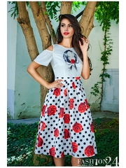 Rochie Eleganta Dots & Roses