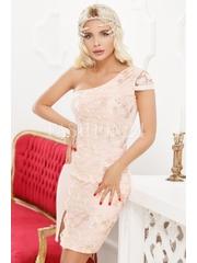 Rochie roz cu dantela aurie