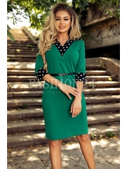 Rochie verde cu buline albe