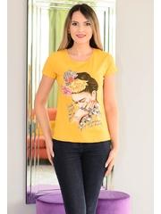 Tricou Hair Flowers Mustard