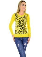 Pulover Animal Print Design Mustard