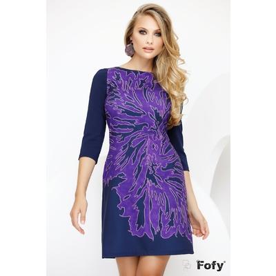 Rochie Fofy bleumarin cu imprimeu floral mov stilizat