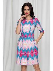 Rochie Ilina albastra cu imprimeu geometric roz